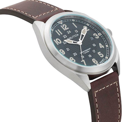 Nautica NAPBTP001 Men's Battery Park Brown Leather Strap Watch