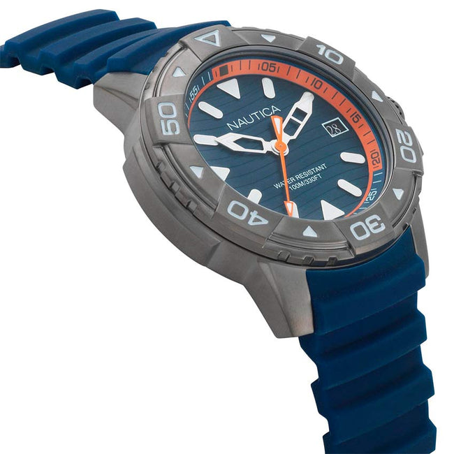 Nautica NAPEGT003 Men's Edgewater Gunmetal Blue Silicone Watch