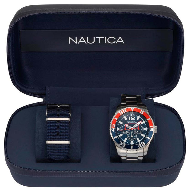 Nautica NAPWHC002 Men's White Cap Multifunction Box Set Watch