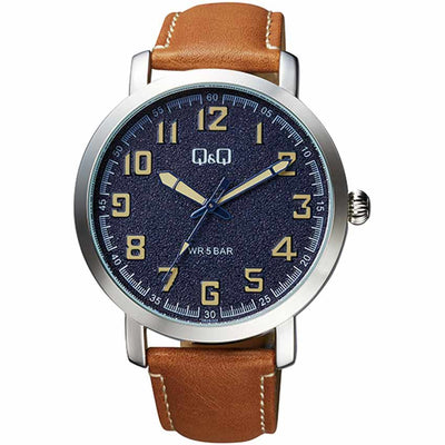 Q&Q QB28J305Y Men's Smart Casual Brown Leather Watch