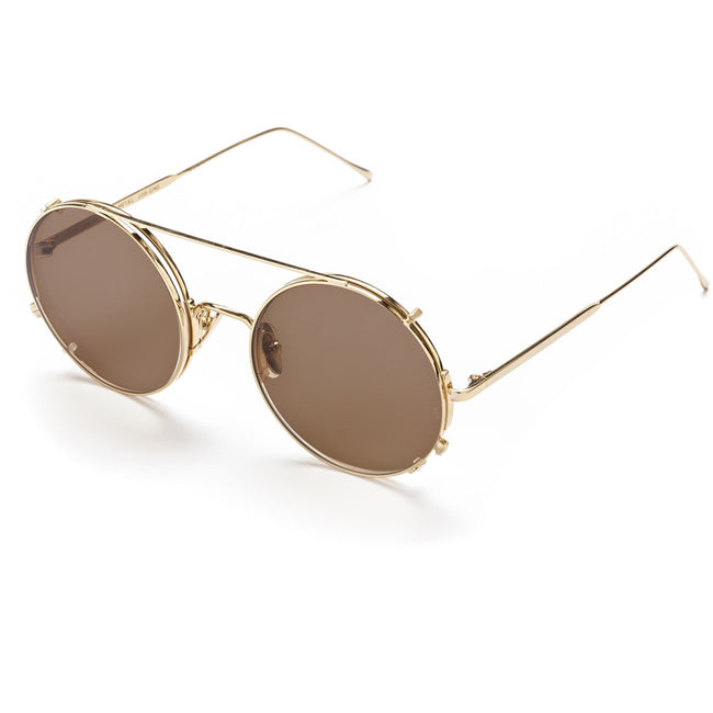 Sunday Somewhere Valentine GME Unisex Gold Metal Brown Lens Sunglasses