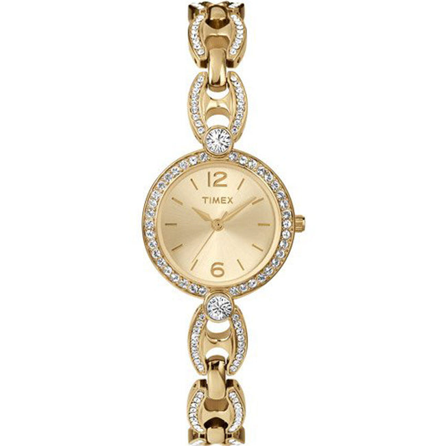 Timex T2P260 Women's Classics Swarovski Crystal Accented Gold Bracelet Small Watch