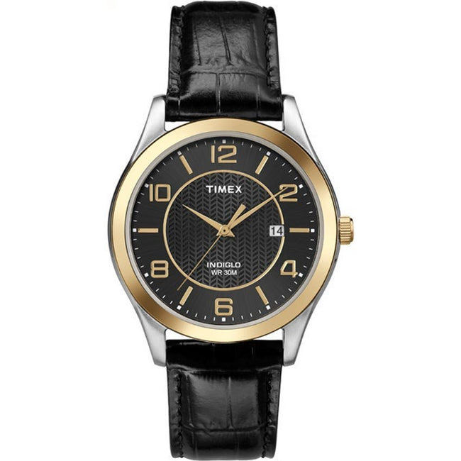 Timex T2P450 Men's Gold Bezel Black Leather Strap Medium Size Watch