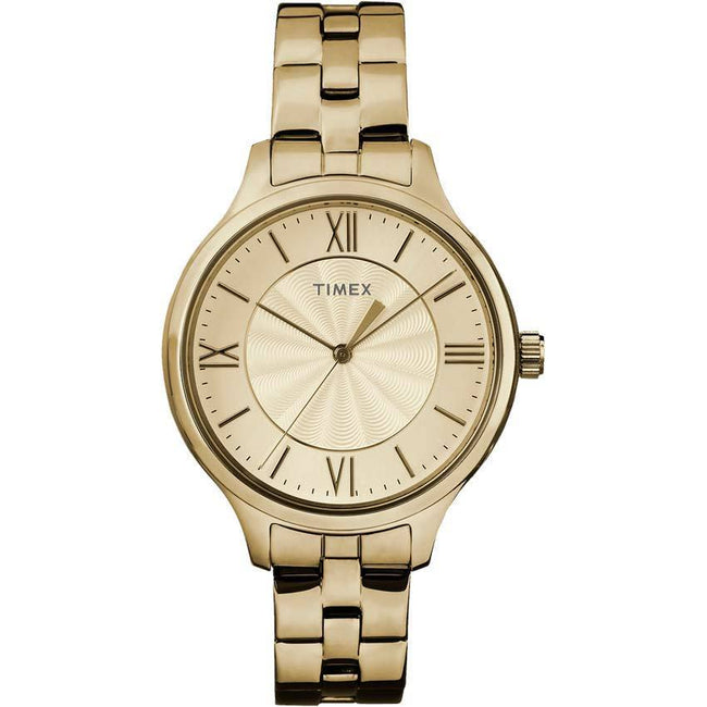 TIMEX TW2R28100 WOMEN PEYTON GOLD STAINLESS STEEL GOLD DIAL WATCH