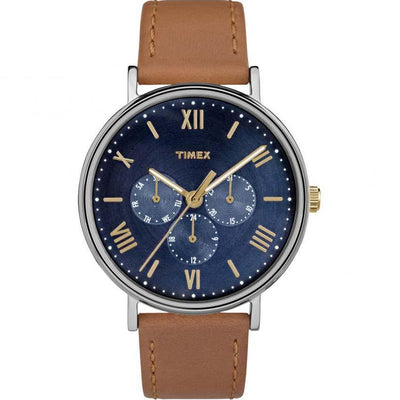 TIMEX TW2R29100 MEN'S SOUTHVIEW MULTIFUNCTION BLUE DIAL TAN LEATHER MEDIUM SIZE WATCH
