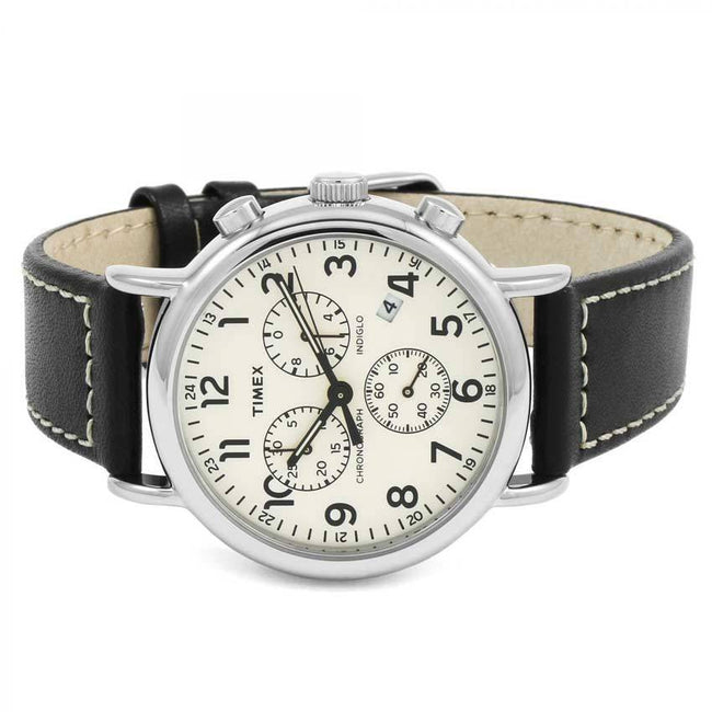 TIMEX TW2R42800 MEN'S WEEKENDER CHRONOGRAPH STAINLESS STEEL CASE BLACK LEATHER MEDIUM SIZE WATCH