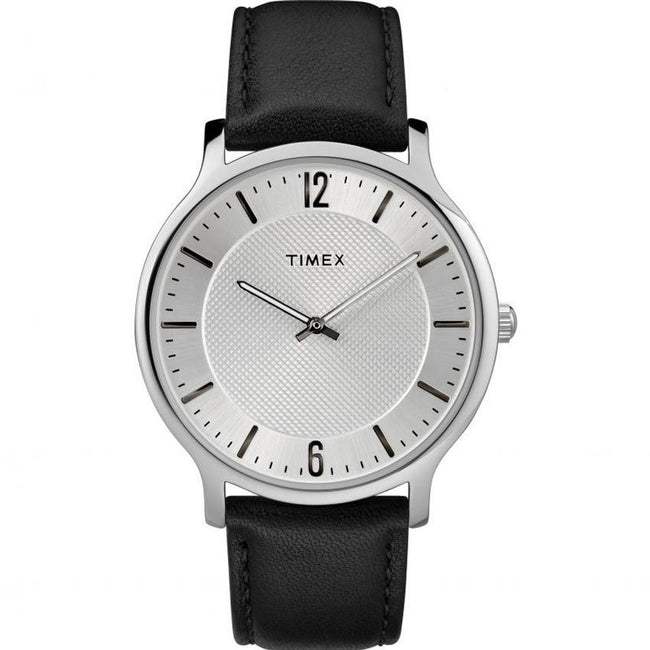 TIMEX TW2R50000 MEN'S SKYLINE SLIM STAINLESS STEEL SILVER DIAL LEATHER MEDIUM SIZE WATCH
