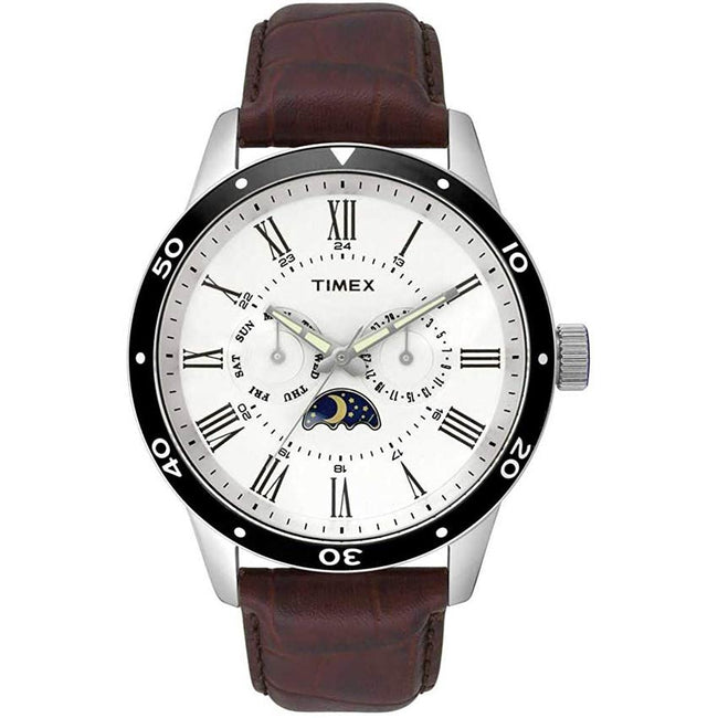 Timex T2R571 Men's MultiFunction Brown Leather Watch
