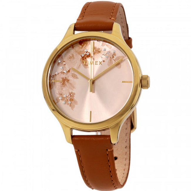Timex T2R669 Women's Crystal Bloom Tan/Gold Floral Dial Leather Watch