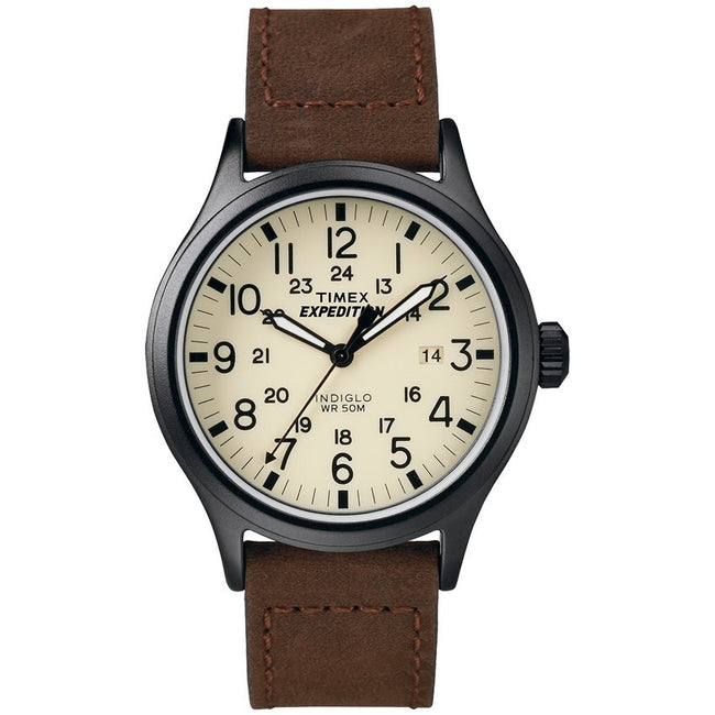 Timex T49963 Men's Expedition Scout Brown Leather Strap Watch