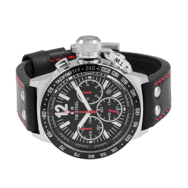 TW Steel CE1015 Men's Canteen Chronograph  Black Dial Leather Watch