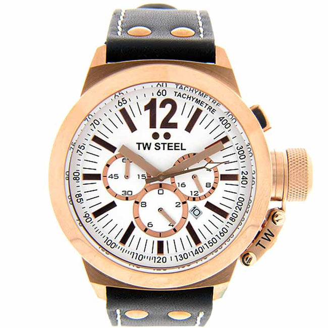 TW Steel CE1019 Men's Canteen Chronograph Rose Gold Leather Watch