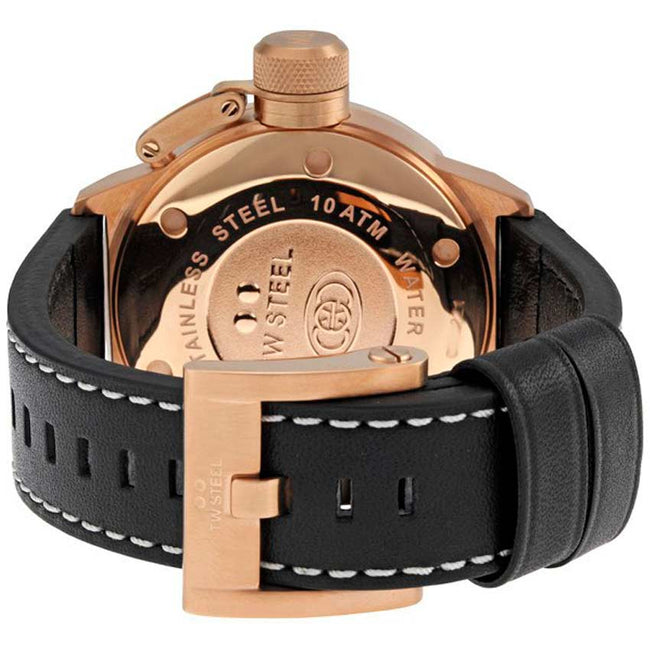 TW Steel CE1021 Men's Canteen Rose Gold-Tone Black Dial Leather Watch