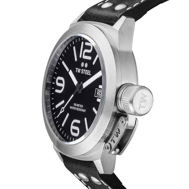 TW Steel TW2 Men's Canteen Black Dial Black Leather Watch