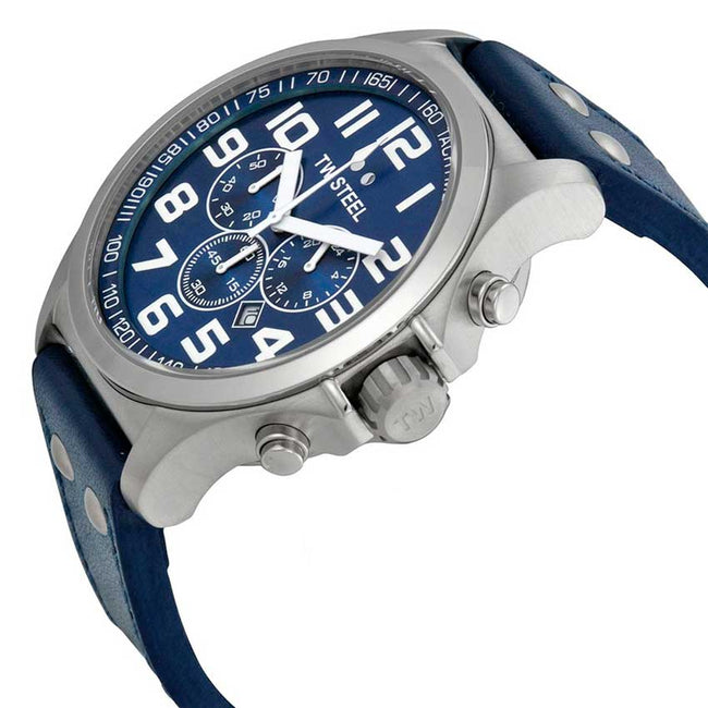 TW Steel TW402 Men's Pilot Chronograph Stainless Steel Blue Dial Watch