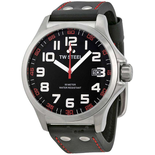 TW Steel TW410 Men's Pilot Stainless Steel Black Dial Black Leather Watch