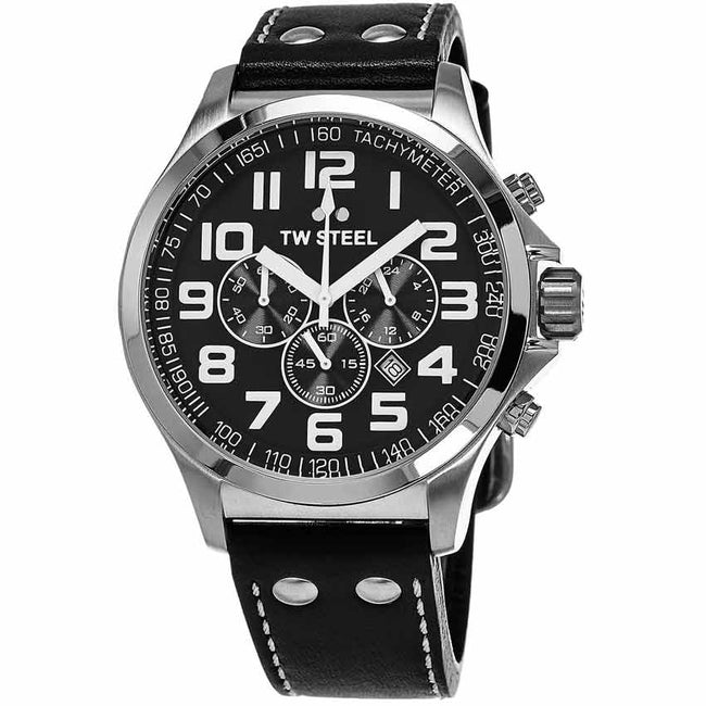 TW Steel TW412 Men's Pilot Chronograph Stainless Steel Black Dial Watch