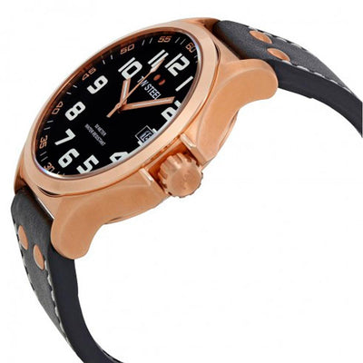 TW Steel TW416 Men's Pilot 45mm Rose Gold-Tone Black Dial Leather Watch