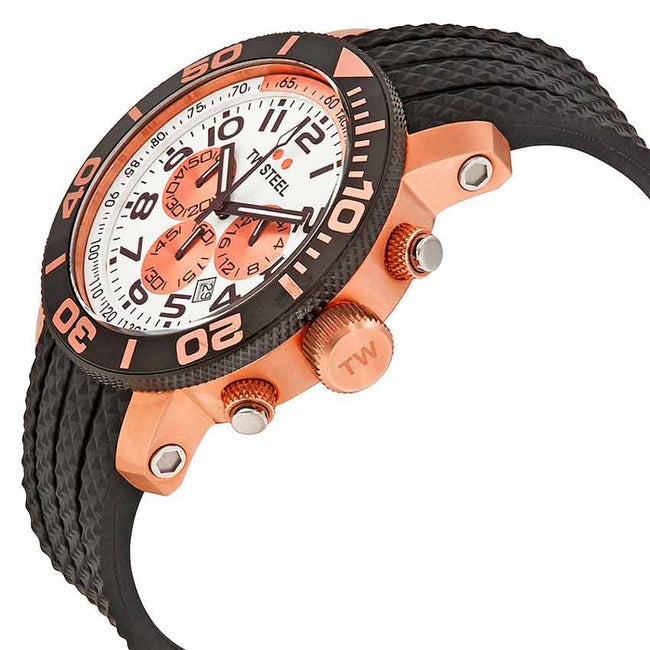 TW Steel TW76 Men's Grandeur Diver Chronograph Rose PVD Rubber Watch