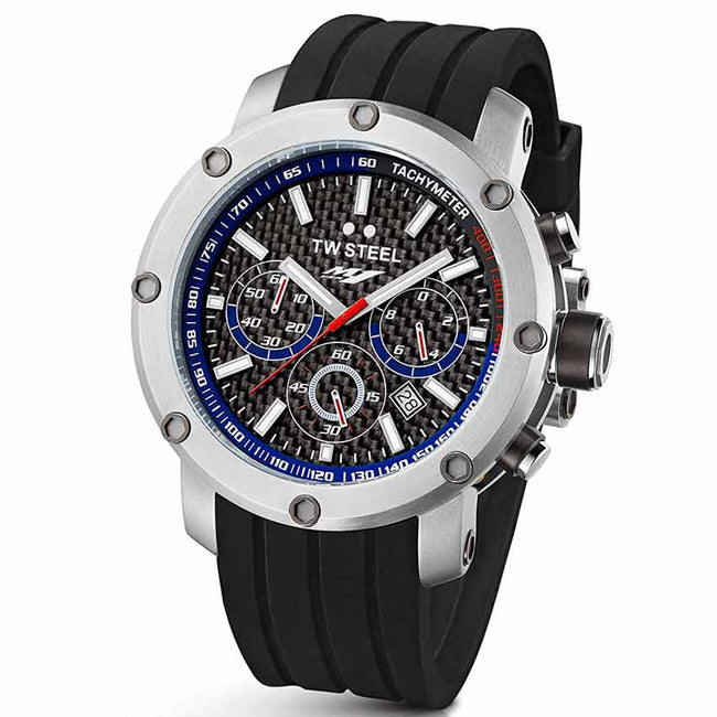 TW Steel TW924 Men's Yamaha Factory Chronograph Black Dial Rubber Watch