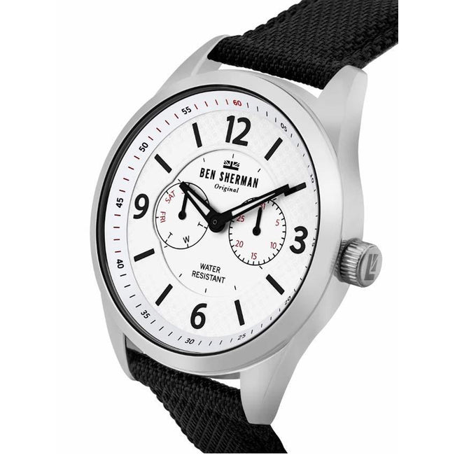 Ben Sherman WB069WB Men's Big Carnaby Utility Black Leather/Fabric Watch