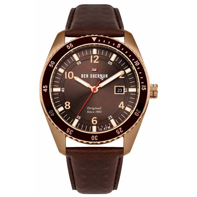 Ben Sherman WBS107TRG Men's The Ronnie Sports Rose Gold Brown Leather Watch
