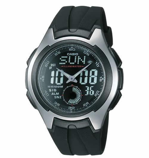 Casio AQ160W-1BV Men's Analog-Digital Sport Watch with Black Resin