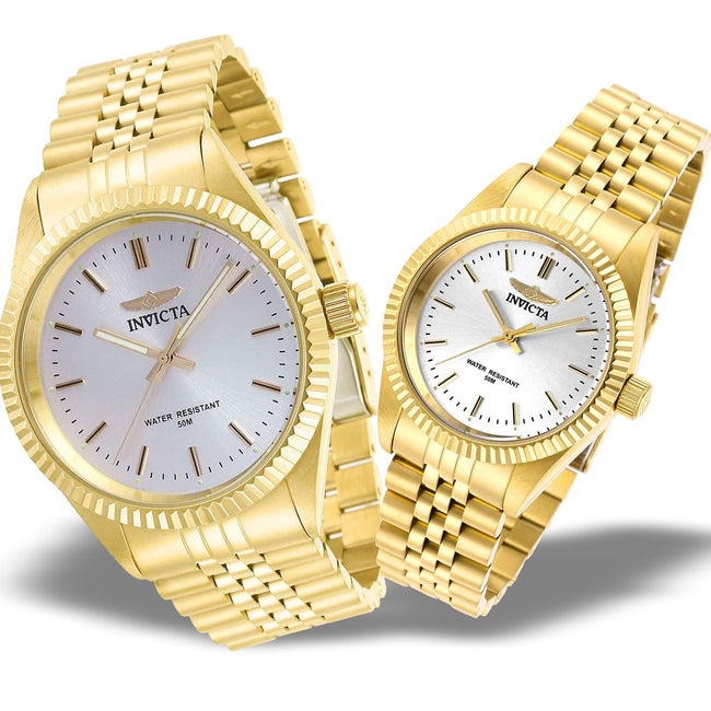 Invicta His N Hers Specialty Quartz Gold Plated Stainless Steel Watch