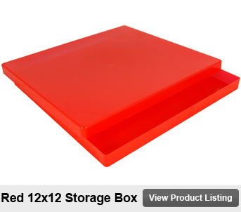 12 by 12 scrapbook storage box red