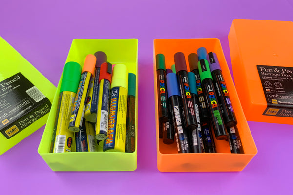WestonBoxes Pen & Pencil Storage Box For Stationery Neon Colours
