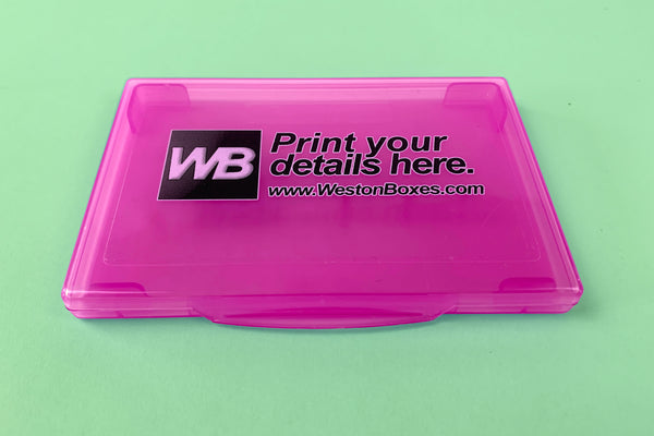 promotional business card wallet with digitally printed labels