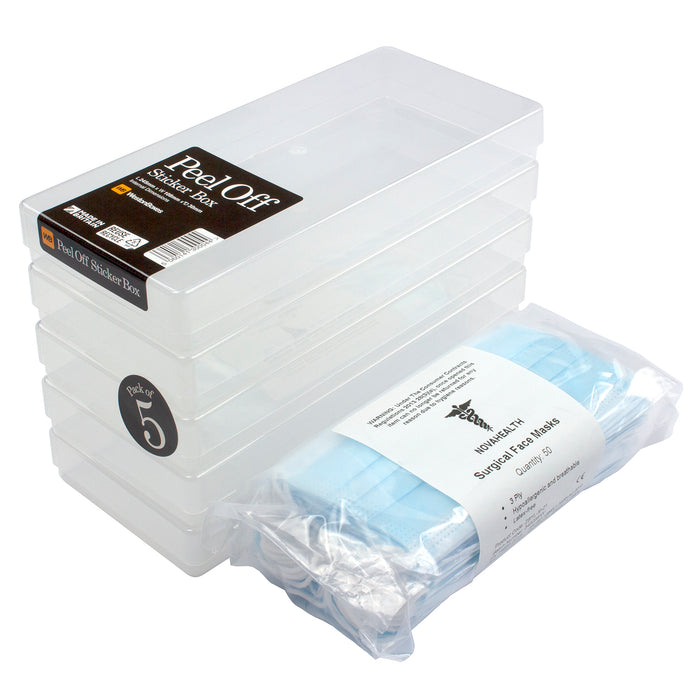 WestonBoxes 10-pack Disposable Face Masks in A Hygienic Transparent Storage Box