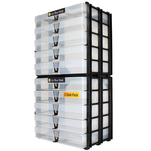 A4 Box Stak Craft Storage Unit + 5 A4 Boxes, Clear (2-pack)