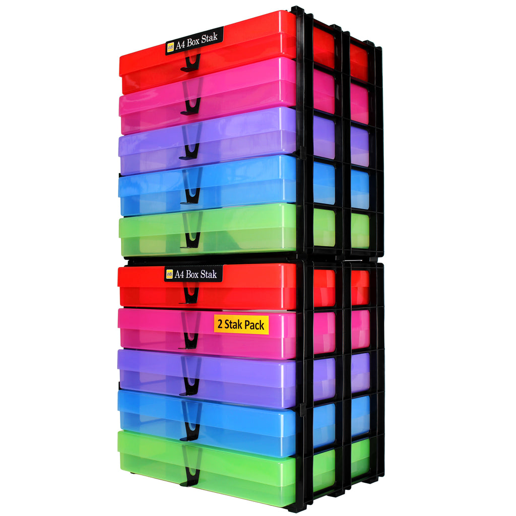 A4 Box Stak Craft Storage Unit + 5 A4 Boxes, Multicolour (2-pack)