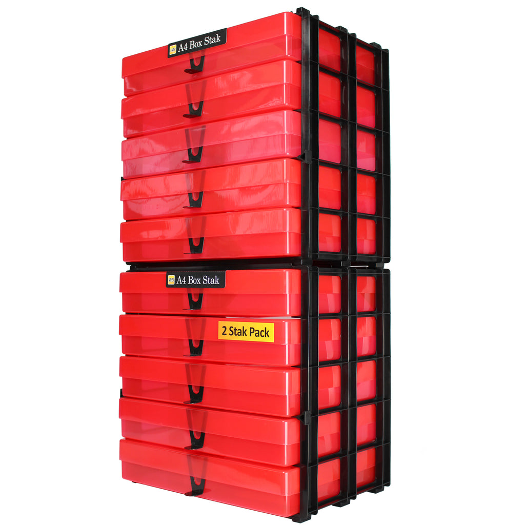 WestonBoxes A4 Box Stak Red Plastic Boxes