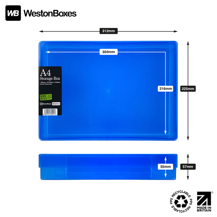 Blue / Transparent, WestonBoxes Plastic A4 Paper Storage Box With Lid