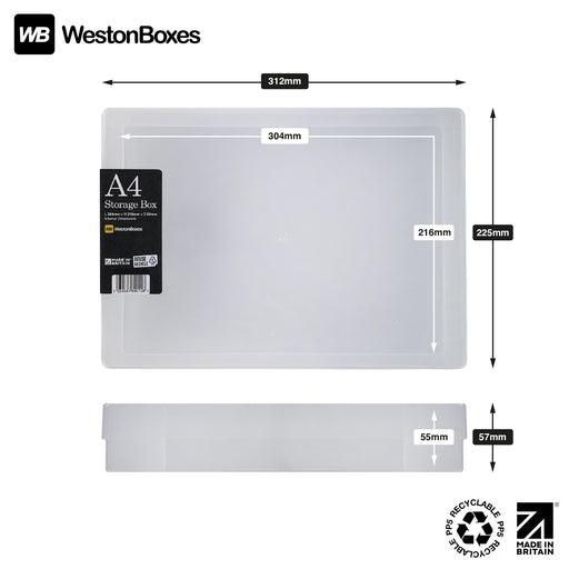 Clear / Transparent, WestonBoxes Plastic A4 Paper Storage Box With Lid