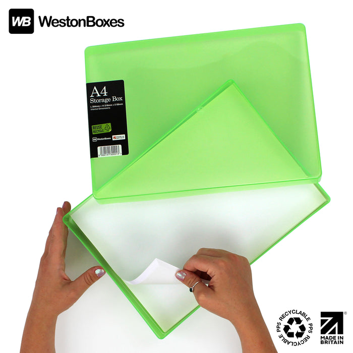 Green / Transparent, WestonBoxes Plastic A4 Paper Storage Box With Lid