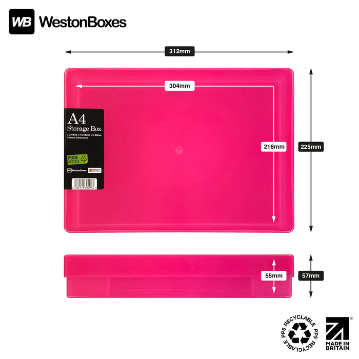 Pink / Transparent, WestonBoxes Plastic A4 Paper Storage Box With Lid