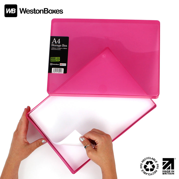 Pink / Transparent, MixPack / Transparent, WestonBoxes Plastic A4 Paper Storage Box With Lid