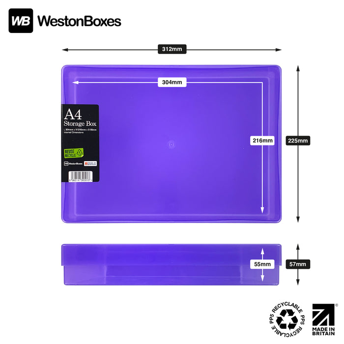 Purple / Transparent, MixPack / Transparent, WestonBoxes Plastic A4 Paper Storage Box With Lid