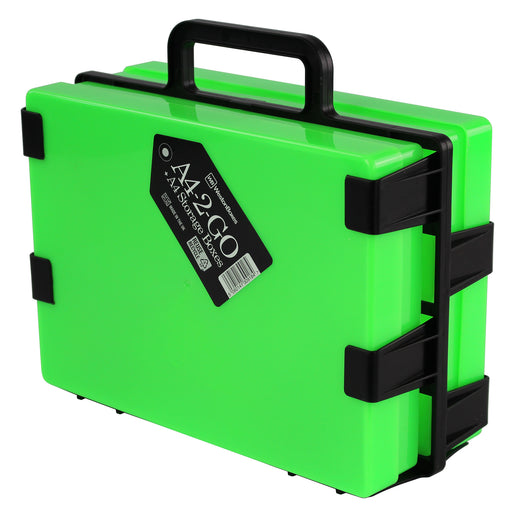Neon Green / Opaque, WestonBoxes Plastic Craft Storage Box Carrier A4 Paper