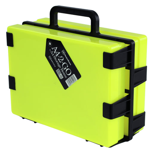 Neon Yellow / Opaque, WestonBoxes Plastic Craft Storage Box Carrier A4 Paper