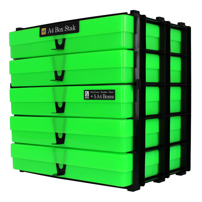 Neon Green / Opaque, WestonBoxes Craft Storage Box Stak Stack Unit For A4 Paper Storage Boxes