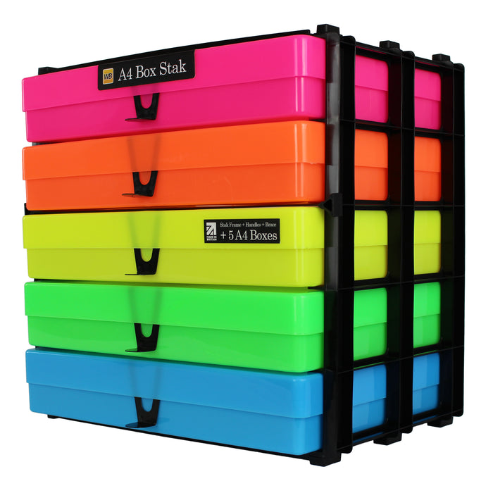 Neon MixPack / Opaque, WestonBoxes Craft Storage Box Stak Stack Unit For A4 Paper Storage Boxes