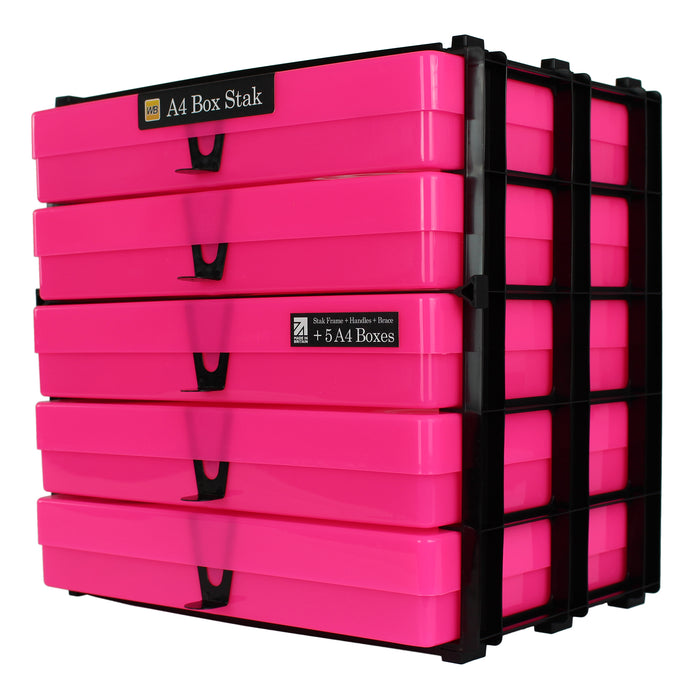 Neon Pink / Opaque, WestonBoxes Craft Storage Box Stak Stack Unit For A4 Paper Storage Boxes