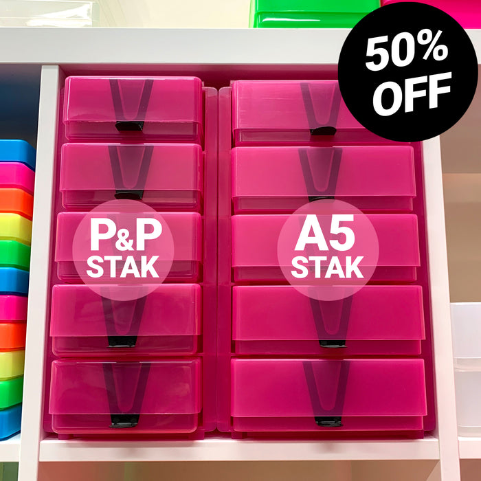 A5 Box Stak + Pen & Pencil Box Stak, Pink/Pink