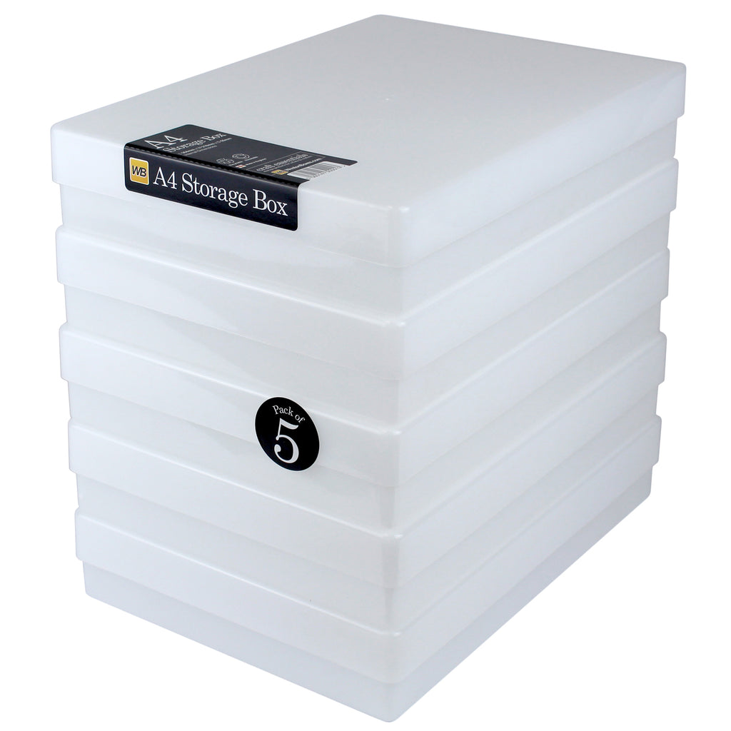 A4 Plastic Storage Boxes, TOUGH (5-pack)