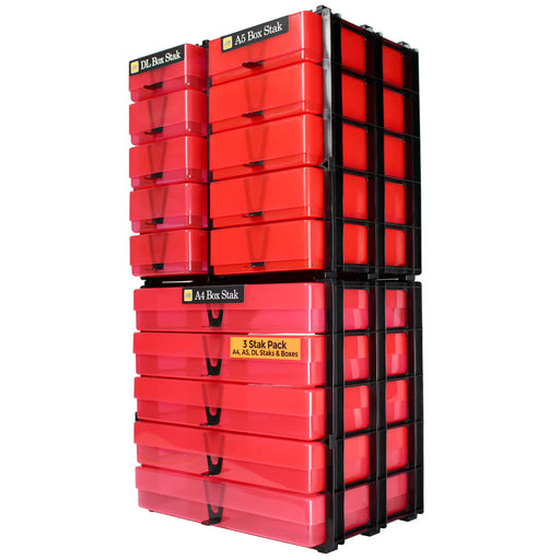 Red / Transparent, WestonBoxes 3 Box Stak Pack A4, A5, DL Crat Storage Unit Staks & Boxes