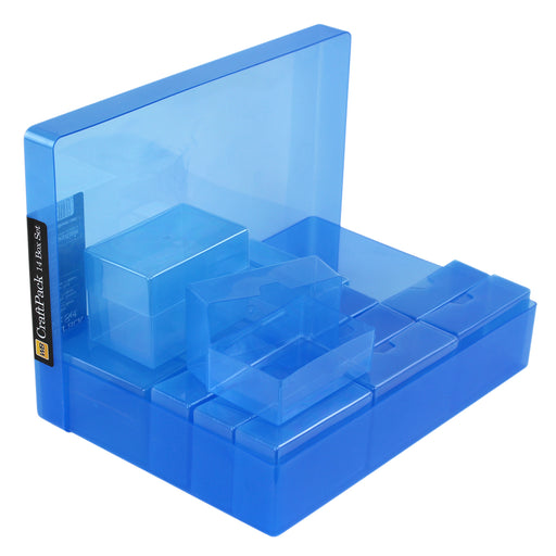 Blue / Transparent, WestonBoxes 14 Box CraftPack Small Craft Storage Boxes